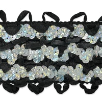 Starlite Sequin Stretch Ric-Rac Ribbon Trim Black/Silver