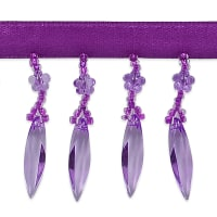 Velma Beaded Raindrop Fringe Trim Bright Purple