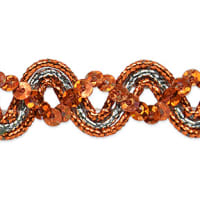 Karmen Sequin Metallic Braid Trim Orange/Silver