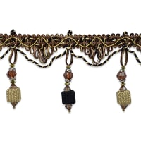 Ruth Cube Bead Fringe Trim Chocolate Multi