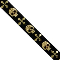 "1/2"" Faux Suede Skull & Cross Hot Fix Banding Trim Gold"
