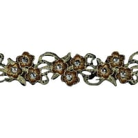 Iron On Daisy With Stem Trim  Antique Gold