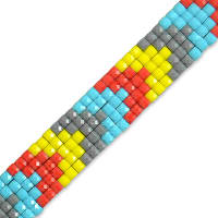 "Dekota Pixel 1/2"" Iron On Trim  Multi Colors"