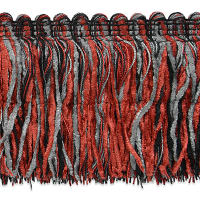 Chenille Cut Fringe Red Multi