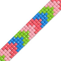 "Dekota Pixel 1/2"" Iron On Trim  Pink Multi"