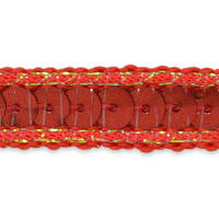 Zali Single Row Sequin with Sparkle Edge Trim Red