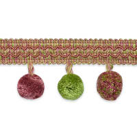 Classic Ball Fringe Trim Mauve/ Green