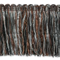Chenille Cut Fringe Trim Pewter Multi