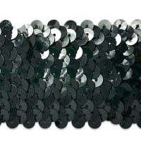"5 Row 1 3/4"" Metallic Stretch Sequin Trim Black"