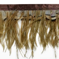 Ostrich and Tiger Feather Fringe Trim Brown