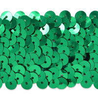 "4 Row 1 1/2"" Metallic Stretch Sequin Trim Green"