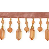 Acrylic Shard Beaded Fringe Trim Amber