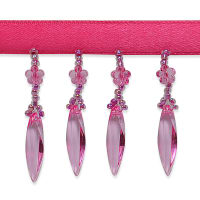Velma Beaded Raindrop Fringe Trim Bright Fuchsia