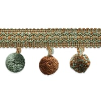 Classic Ball Fringe Trim  Copper/ Seafoam