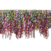 Fiber Patch Cut Fringe Trim Lavender Multi