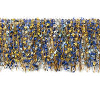 Fiber Patch Cut Fringe Trim Blue Multi