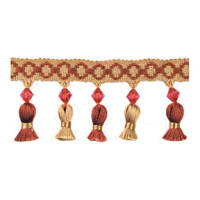 Tied Tassel Trim with Beads Brown/ Cranberry