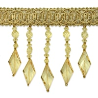 Rosalie Diamond Bead Fringe Trim Gold
