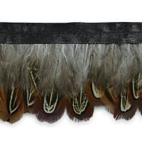 Fancy Feather Fringe Trim Brown Multi