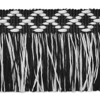 "Sebastian 1 3/8"" Diamond Head Fringe Trim Black/White"
