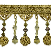 Preshea Decorative Beaded Fringe Trim Gold
