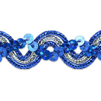 Karmen Sequin Metallic Braid Trim Royal/Silver