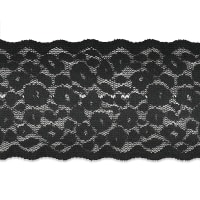"Eartha 2"" Stretch Raschel Lace Trim Black"