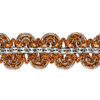 Eva Faux Rhinestone Metallic Braid Trim Orange/Silver