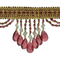 Isabella Scalloped Bead Fringe Trim Burgundy Multi