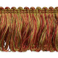 Madeline Loop Fringe Trim Brown/ Cranberry