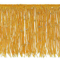 "6"" Starlight Hologram Sequin Chainette Fringe Trim Yellow Gold"