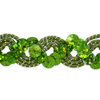 Reba Ric Rac Sequin Braid Trim Lime/Silver