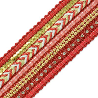 Tuva Woven Beaded Trim  Red