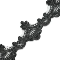 Vanessa Embroidered Lace Trim with Pearls and Sequin Black