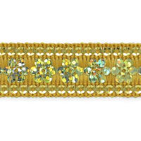 Viola Single Row Starlight Sequin Trim with Sequin Edging Gold