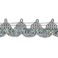 "Averil 3/4"" Pointed Sequin Braid Trim Silver"
