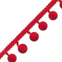 "3/8"" Pom Fringe Trim Red"