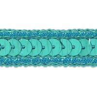 Zali Single Row Sequin with Sparkle Edge Trim Turquoise