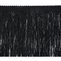 "6"" Metallic Chainette Fringe Trim Black"