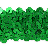 "3 Row 1 1/4"" Metallic Stretch Sequin Trim Green"