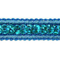 Lexi Single Row Starlight Hologram Sequin with Sparkle Edge Trim Aqua Blue