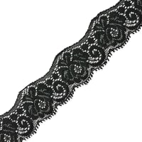 "Samantha 1 1/2"" Stretch Raschel Lace Trim Black"