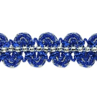 Eva Faux Rhinestone Metallic Braid Trim Royal/Silver