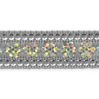 Viola Single Row Starlight Sequin Trim with Sequin Edging Silver