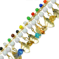 Phaedra Leaf Beaded Chain Trim Multi Colors