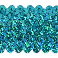 "4 Row 1 1/2"" Starlight Hologram Stretch Sequin Trim Aqua Blue"