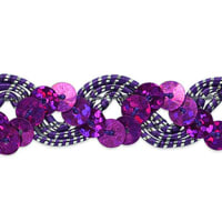Reba Ric Rac Sequin Braid Trim Purple/Silver