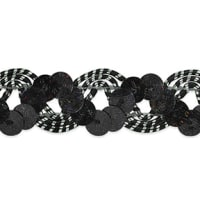 Reba Ric Rac Sequin Braid Trim Black/Silver