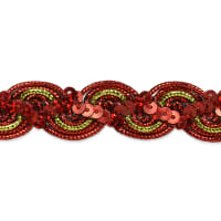 April Sequin Metallic Braid Trim Red