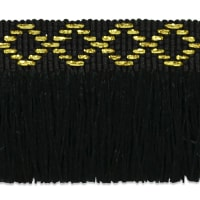 "Sebastian 1 3/8"" Diamond Head Fringe Trim Black/ Gold"